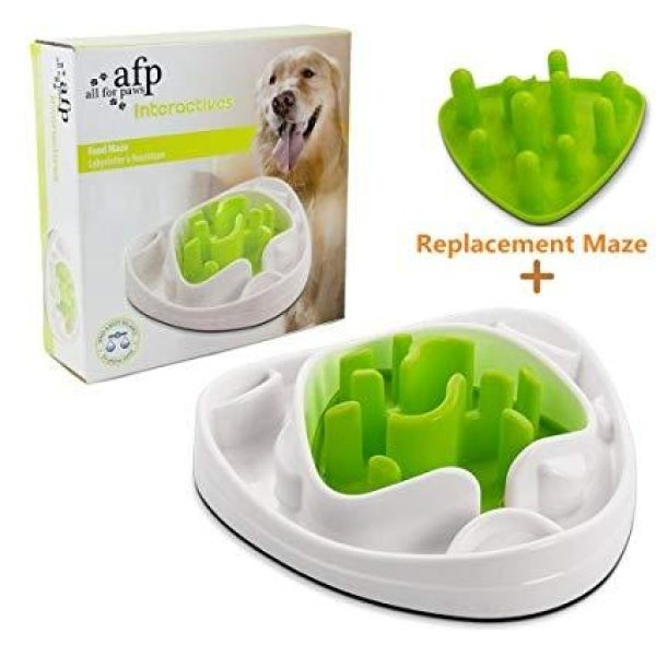 All for Paws Interactives Dog Puppy Slow Feeder Maze Puzzle Toy Bowl - Anti Gulp Slows Down Eating - Slow Feeders - Xtra Dog