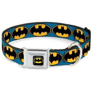 Buckle-Down Batman Bat Signal Blue/Yellow/Black Dog Collar