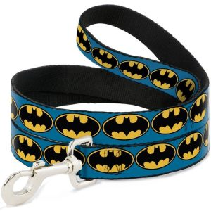 Buckle-Down Batman Bat Signal Blue/Yellow/Black Dog Lead (4ft)