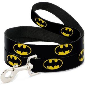 Buckle-Down Batman Bat Signal Shield Black/Yellow Dog Lead (4ft)
