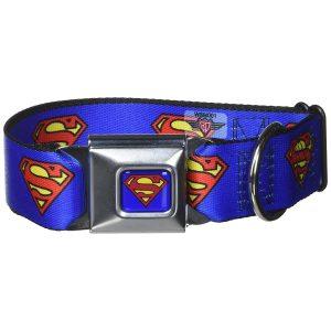Buckle-Down Superman Shield Blue Dog Collar