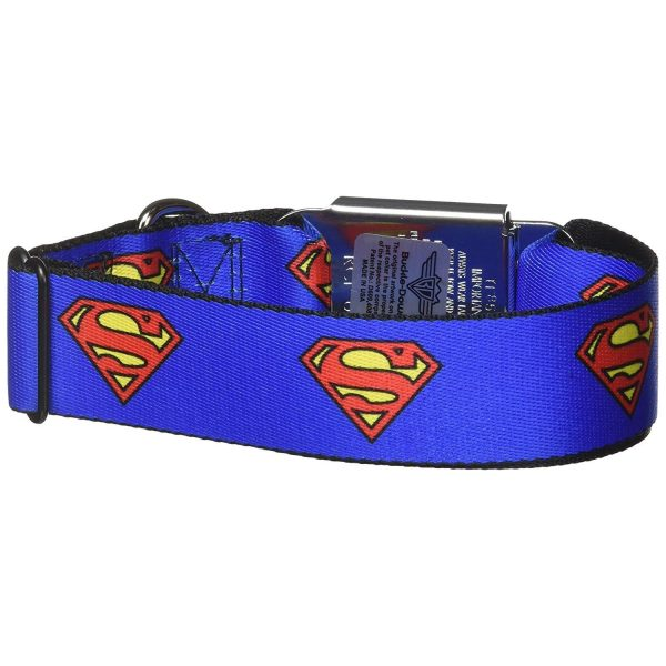 Buckle-Down Superman Shield Blue Dog Collar - Collars - Xtra Dog