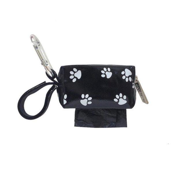 Designer Duffel Poo Bag Dispenser - Black Paw - Poo Bags - Xtra Dog