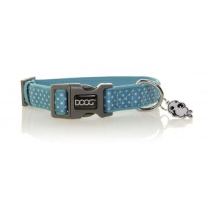 DOOG Snoopy Dog Collar Blue and White Polkadots