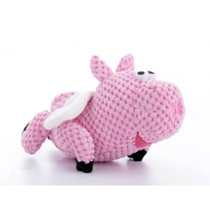 goDog Flying Pig with Chew Guard Technology Tough Plush Dog Toy