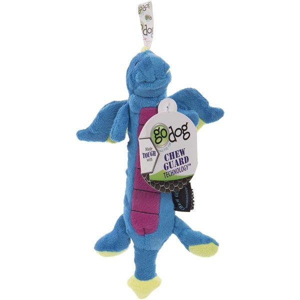 goDog Skinny Dragon Blue with Chew Guard Technology - Plush Toys - Xtra Dog