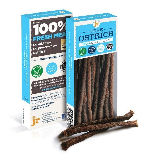 JR Pure Ostrich Sticks, 50g - Treats - Xtra Dog