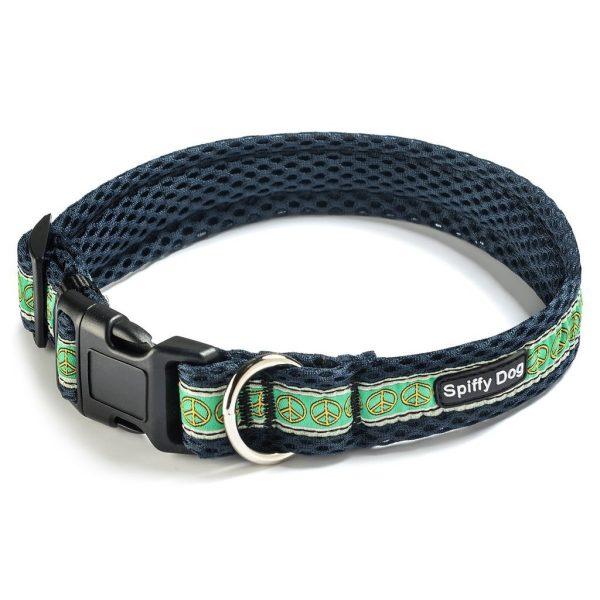 Spiffy Dog, Navy Peace Signs Collar - Collars - Xtra Dog