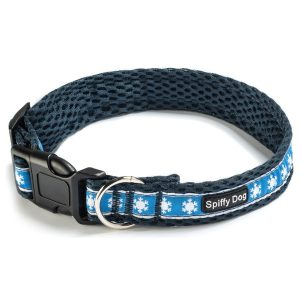Spiffy Dog, Navy Snowflakes Collar