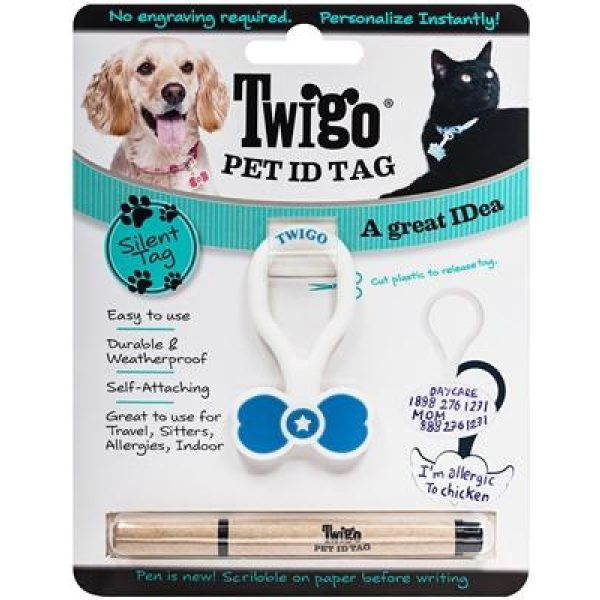 Twigo Pet ID tag - Bone Tie Blue - Pet Tag - Xtra Dog