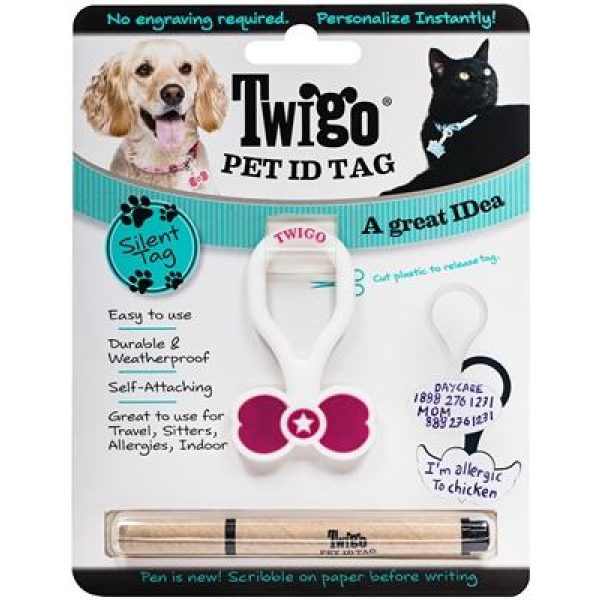 Twigo Pet ID tag - Bone Tie Pink - Pet Tag - Xtra Dog