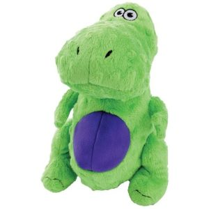 goDog Dinos – TRex with Chew Guard Technology Plush Squeaker Toy, XS, Green