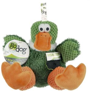 goDog Checkers – Sitting Duck with Chew Guard Technology, Squeaky Plush Dog Toy