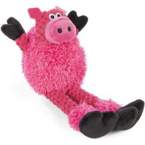 goDog Checkers – Skinny Pig Chew Guard Squeaky Plush Dog Toy