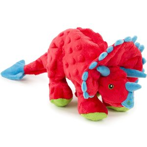 goDog Dinos – Triceratops with Chew Guard Technology Plush Squeaker Dog Toy