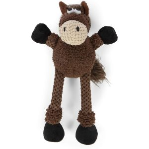 goDog Checkers – Skinny Horse Chew Guard Squeaky Plush Dog Toy